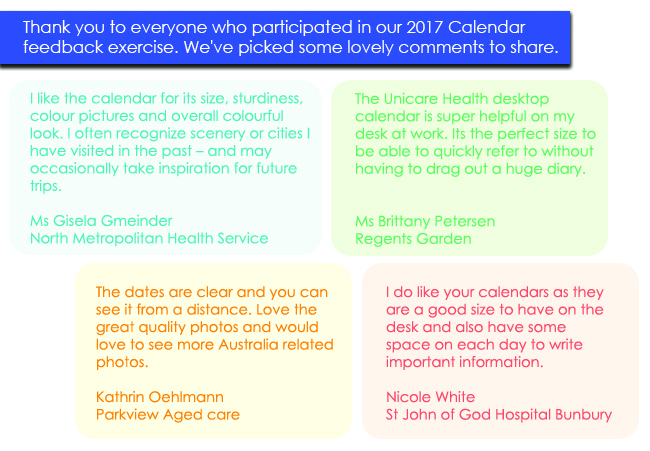 unicare health calendars 2017 feedback